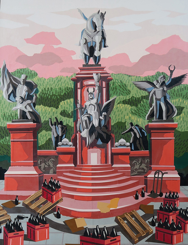 Franco Fasoli, JAZ - Plaza San Martin Y la Reparticion Fallida, collage on canvas, 2018