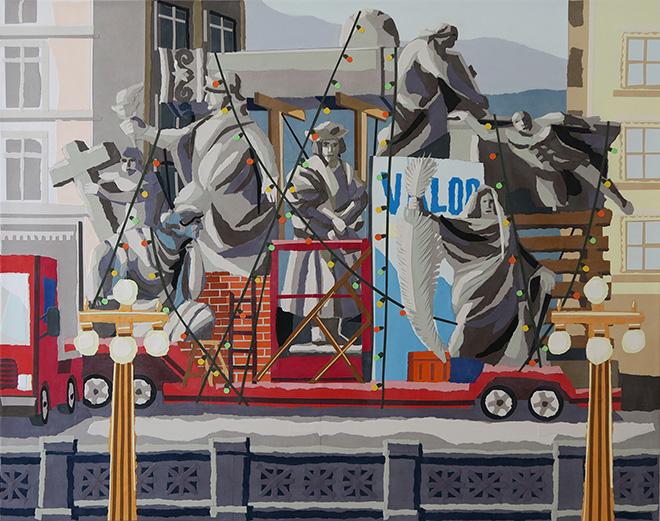 Franco Fasoli, JAZ - Valor, collage on canvas, 2018