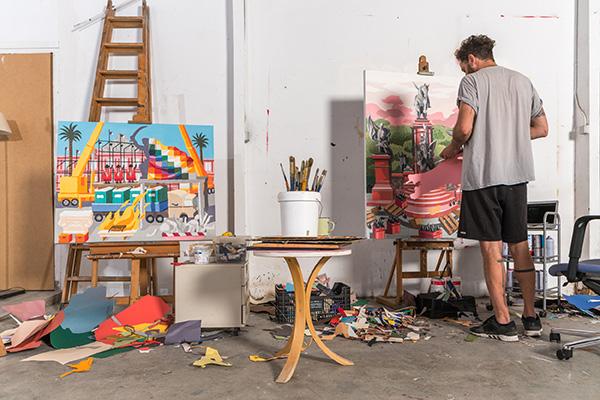 Franco Fasoli, JAZ - Work in progress of Collage, photo credit: German Rigol, 2018