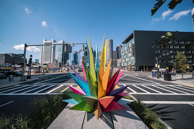 Okuda - Public art project. Air Sea Land, Boston Seaport