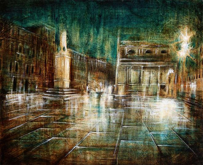 Mariarosaria Stigliano - Notte a Venezia - olio, pigmenti e smalti su tavola, cm 40x50