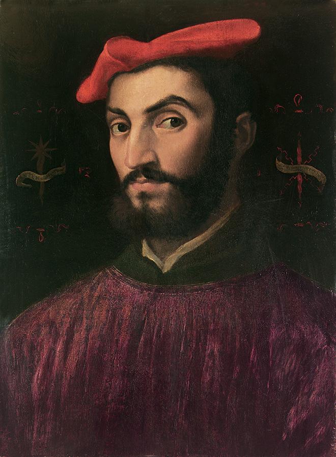 Sebastiano Luciani, detto Sebastiano del Pombo - [Venezia, 1485 c. - Roma, 1547], Ritratto di Ippolito de' Medici. governatore di Firenze e cardinale, 1530-31, olio su tavola di pioppo, cm 54,4 x 40,3.