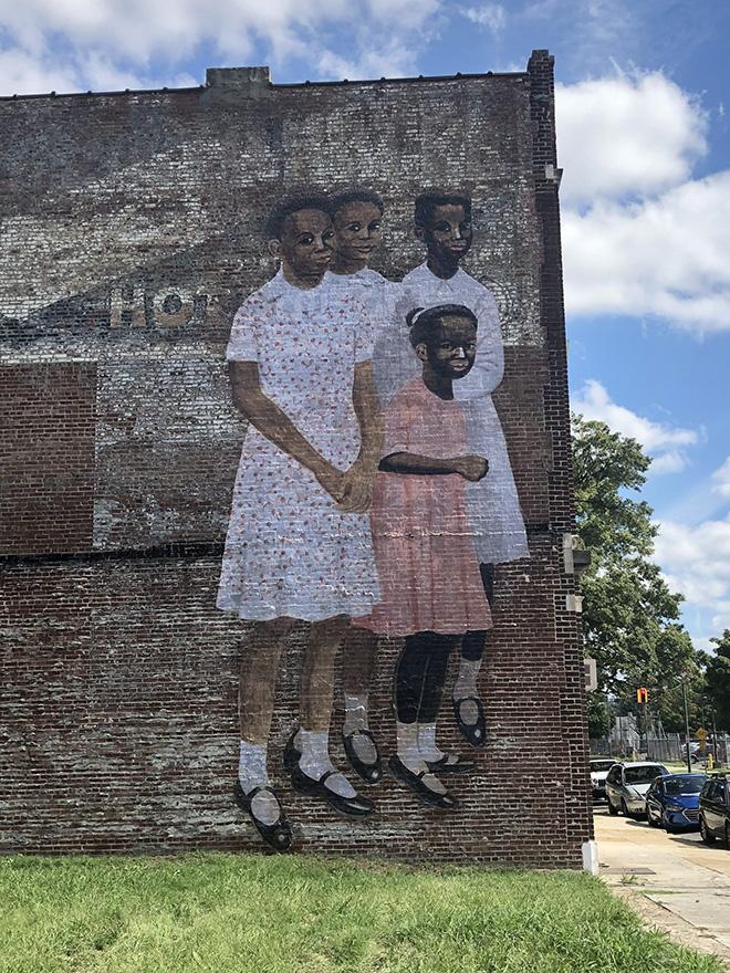 Julien de Casabianca - Outings Project, Memphis. Paste-up detail (Wedding Party) Carroll Cloar, 1971. Location: 154 G.E. Patterson, Memphis