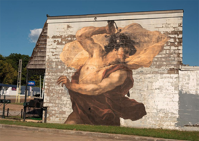 Julien de Casabianca - Outings Project, Memphis. Paste-up detail (L'uccisione di Medusa), Luca Giordano, 1680. Location: 3177 Summer Ave, Memphis