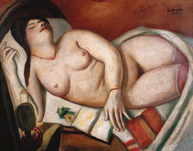 Max Beckmann - Donna addormentata, 1924, olio su tela, 48 x 61 cm, Collezione privata, © 2018, ProLitteris, Zurich