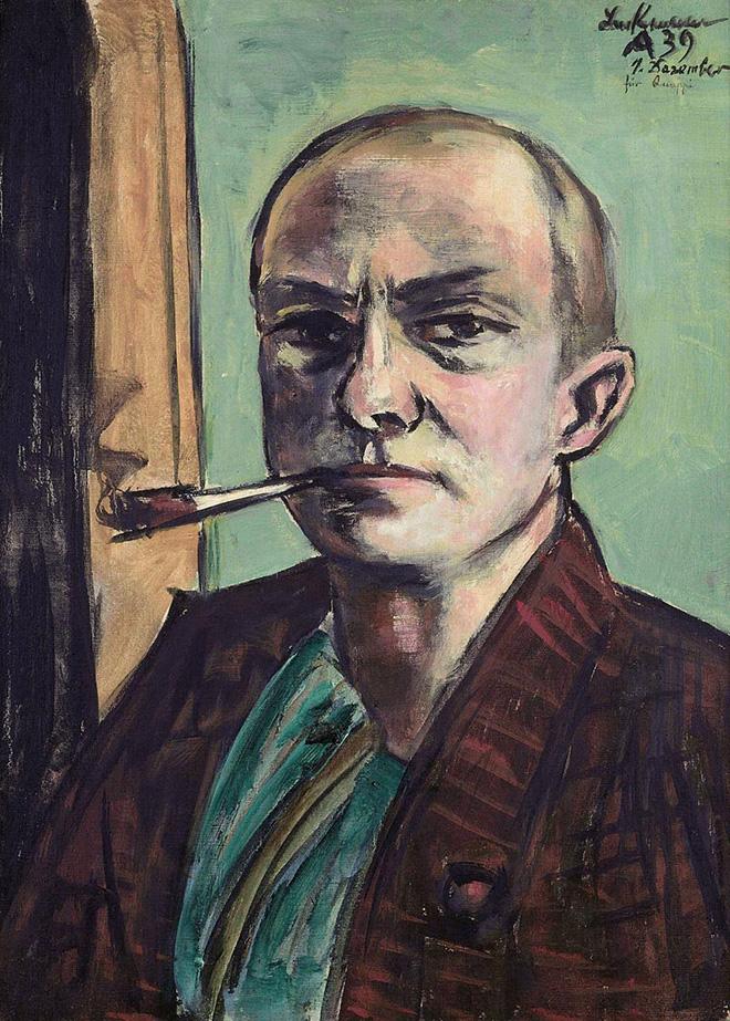 Max Beckmann - Autoritratto su sfondo verde con camicia verde - 1938-1939, olio su tela, 65.5 x 50 cm, Museum der bildenden Künste Leipzig Nachlass Mathilde Q. Beckmann, © 2018, ProLitteris, Zurich