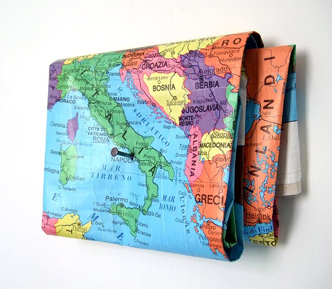 Bianco-Valente - Materia prima, 1994-2008, Cartina geografica, chiodo da 10 cm, cm 21X30X6,5
