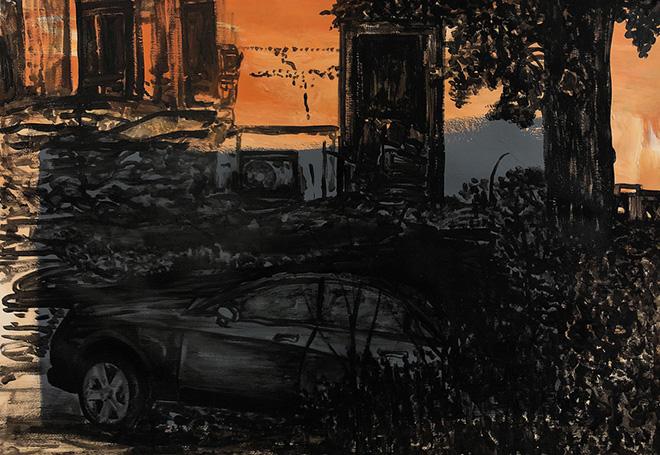 Michael Rotondi - Mota #16, 2018, smalto su carta, 70x100 cm