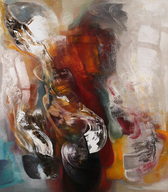 Piero Mascetti - Grande autunno in prima pagina, olio su tela, cm 230x200