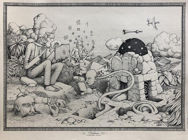 Waone - Vladimir Manzhos, Timeless Moment, 2017, ink on paper, 30x40 cm