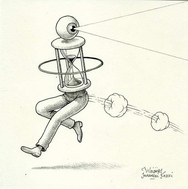 Waone -Vladimir Manzhos, Running Time, 2017, Ink on paper, 12,5x12,5 cm