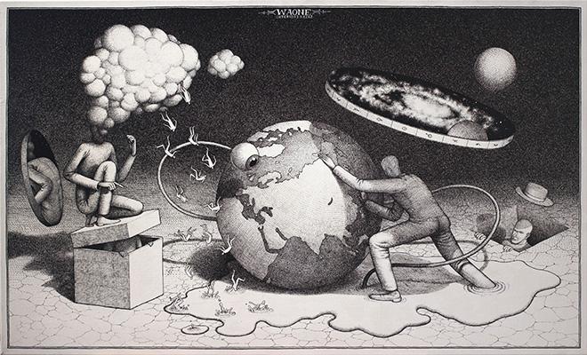 Waone - Vladimir Manzhos, The planetary motion, 2017, Ink on paper, 60x100 cm