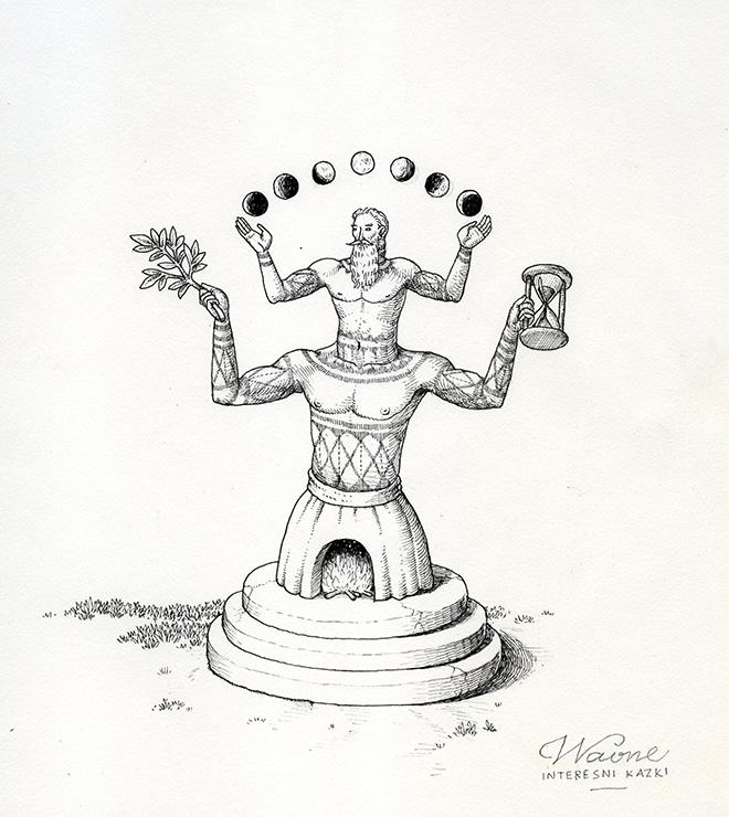 Waone - Vladimir Manzhos, Chronos, 2017, ink on paper, cm 19.5x21,5
