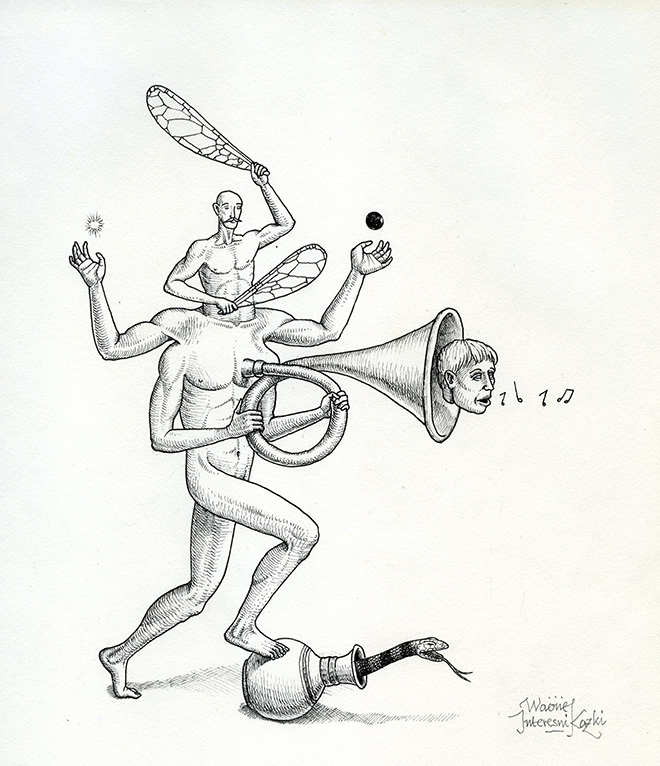 Waone - Vladimir Manzhos, Music of Heart, 2017, ink on paper, cm 19,5x22