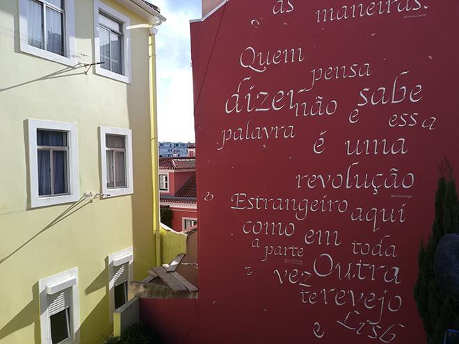 Opiemme - A Fernando Pessoa e Josè Saramago, 2018. Rua do Patrocinio 110, quartiere Campo De Ourique, Lisbona.