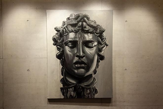OZMO - Medusa, 200x150 cm, 2014, acrilico su pvc di recupero. Street Art Ways, exhibition Melano (CH)