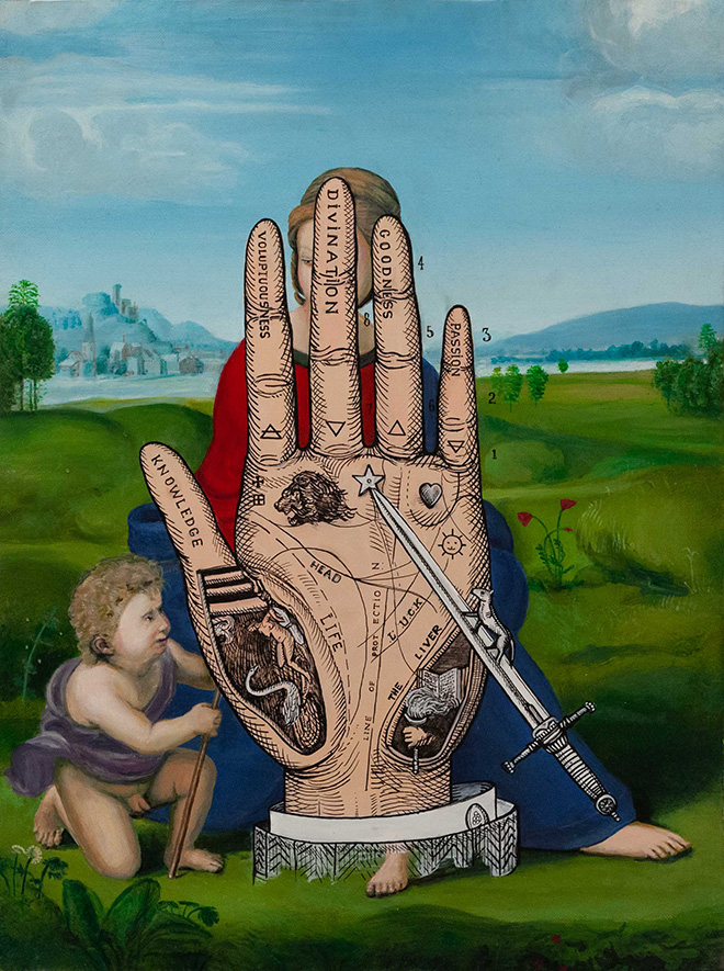 OZMO - Raphael hand of the poet, 100x70, 2016, acrilico su pvc di recupero. Street Art Ways, exhibition Melano (CH)