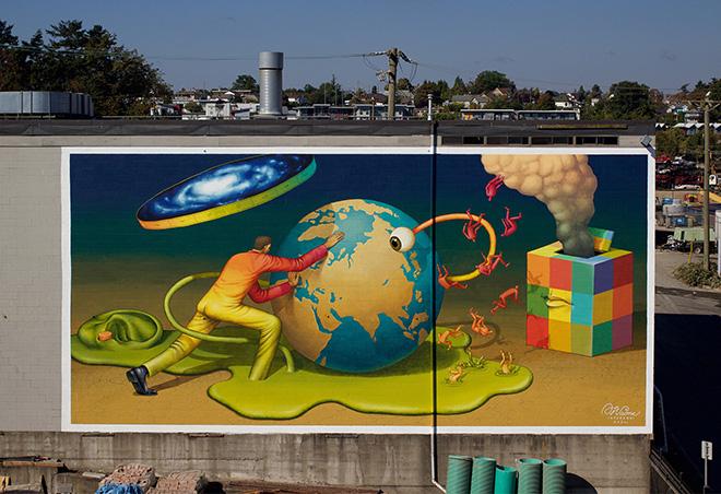 Waone (Interesni Kazki) - Transformation, Concrete Canvas mural project in Victoria's Rock Bay, 401 David St.