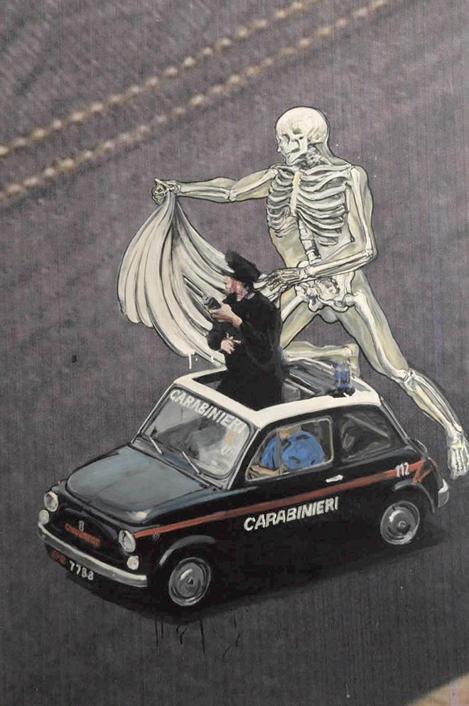 Ozmo - Criminal vs carabinieri, 100X150 cm.