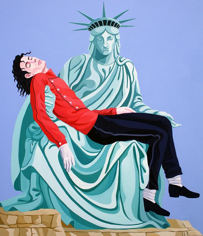 Giuseppe Veneziano - La pietà di Michael Jackson, 2010, acrilico su tela, cm 150x130