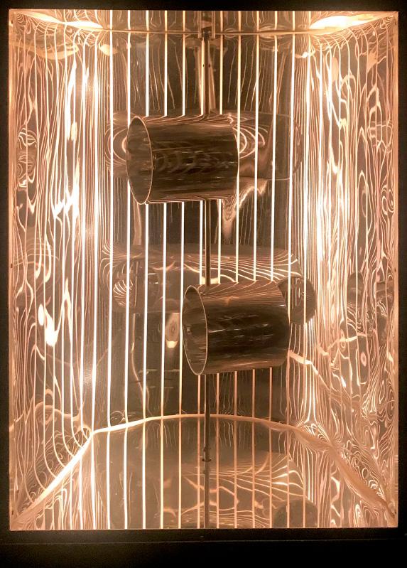 MARTHA BOTO - Deplacements, 1967, 60 x 37 x 27 cmmetallo, plastica, installazione luminosa e motore elettrico