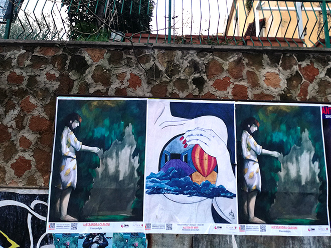Alessandra Carloni (laterali), Alessia De Maio (centro), (Liceo-Enriques) - URBAN AREA #nonsolo25 - Ostia 2018. photo credit: aDNA collective.