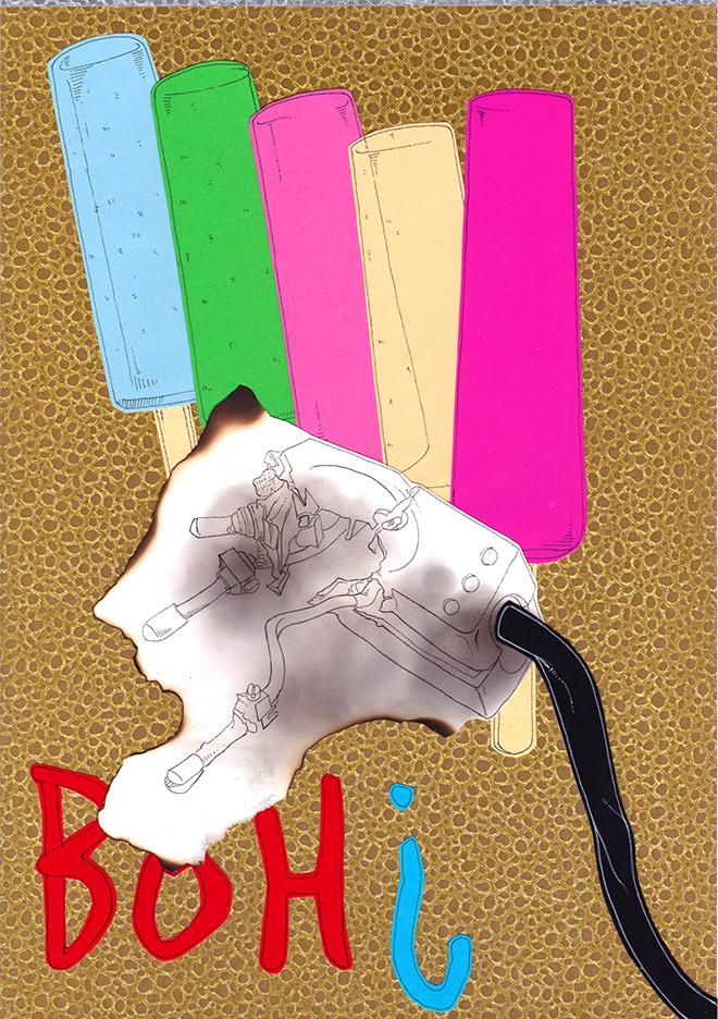 Alvise Bittente - TRITTICO POLITTICO, RED HOT ICE CREAMPIE, disegni realizzati a penna china nera e bianca rotring rapidograph 0.18 e 0.2 su cartoncini colorati e applicati su texture oro e argento 2018 - A plus A gallery, Venezia.
