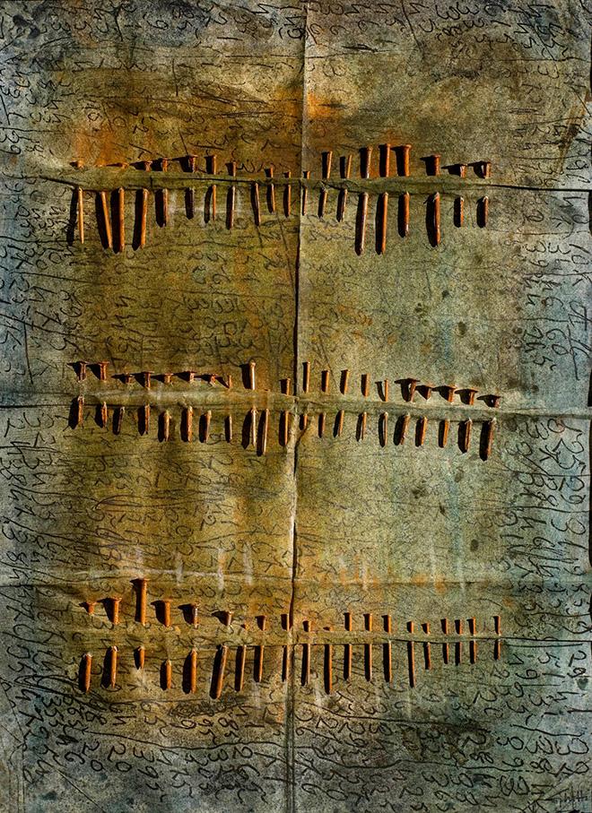 Franca Ghitti - Pagine chiodate, Altri Alfabeti, 1990-1995, chiodi su carta trattata e colorata, cm 70x50. photo credit: Fabio Cattabiani.