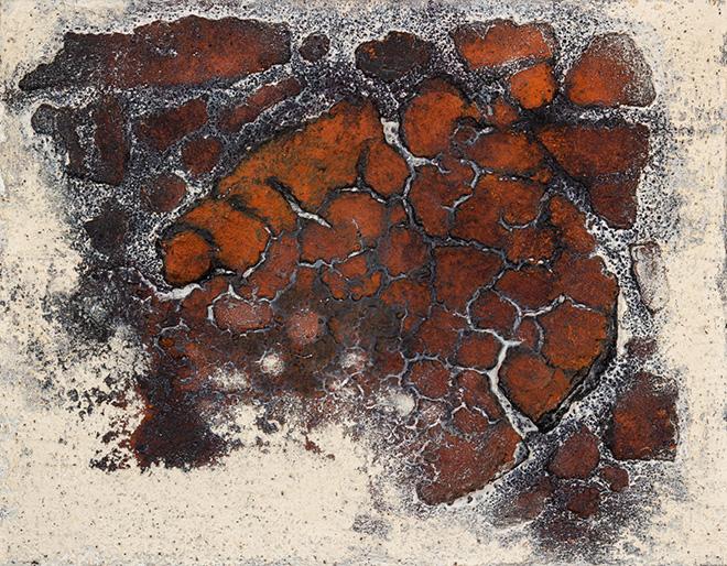 Franco Cardinali - Empreintes, 1982, olio, caseina e sabbia su tela, cm 28x32. photo credit: Luca Maccotta