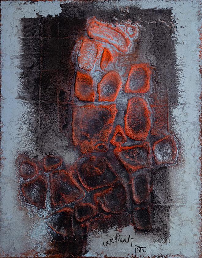 Franco Cardinali - Ultimes vestiges III, 1982, olio, caseina e sabbia su tela, cm 100x80. photo credit: Luca Maccotta.