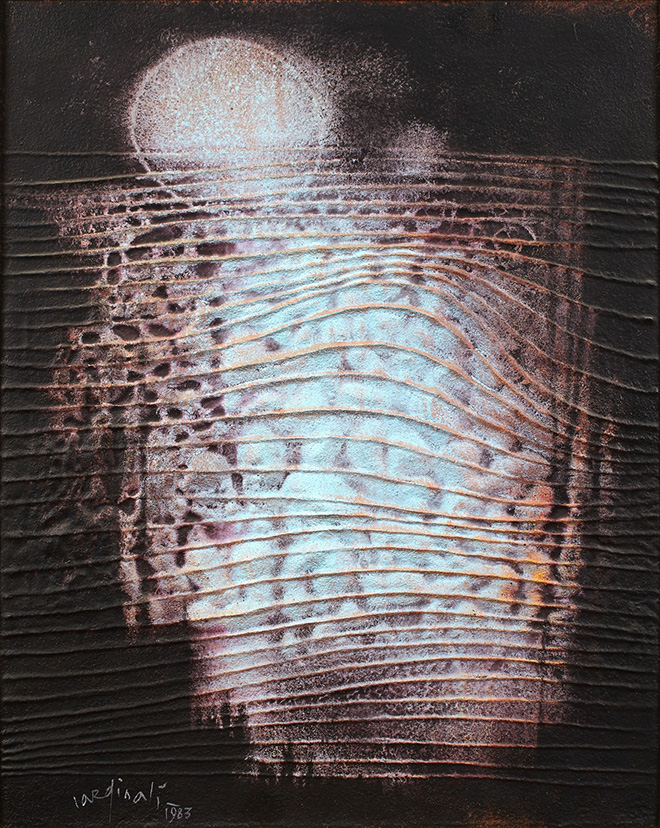 Franco Cardinali - Site cosmique aux reflets d'aurore, 1983, olio, caseina e sabbia su tela, cm 100x81.