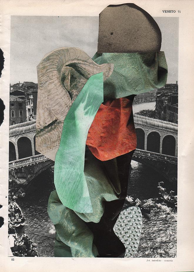Lucia Veronesi - L'Italia Sfondata #61_collage su carta 19x26.5 cm, (in corso),  2018 - A plus A gallery, Venezia