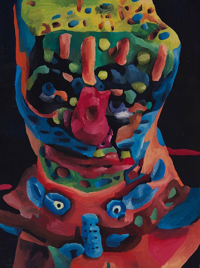Marta Sesana - Profondo blu, 2017, tempera su legno, cm. 40x30