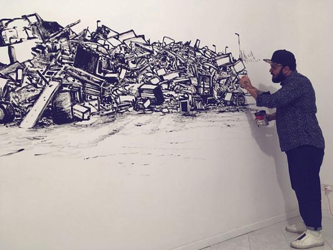 Michael Rotondi - Mota, Wall painting (CIRCOLOQUADRO)