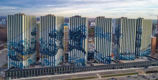 La grande onda di Kanagawa - Architettura creativa a Mosca. Etalon Group, Rendering progetto, Complesso Residenziale Etalon City, distretto di Butovo, periferia sud-ovest di Mosca.