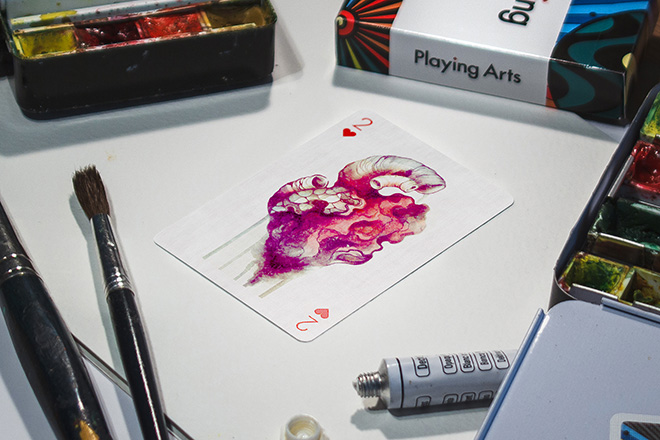 Playing Arts: Edition Zero. 2 of Hearts, illustration by Sara Blake. photo credit: @cardsareart