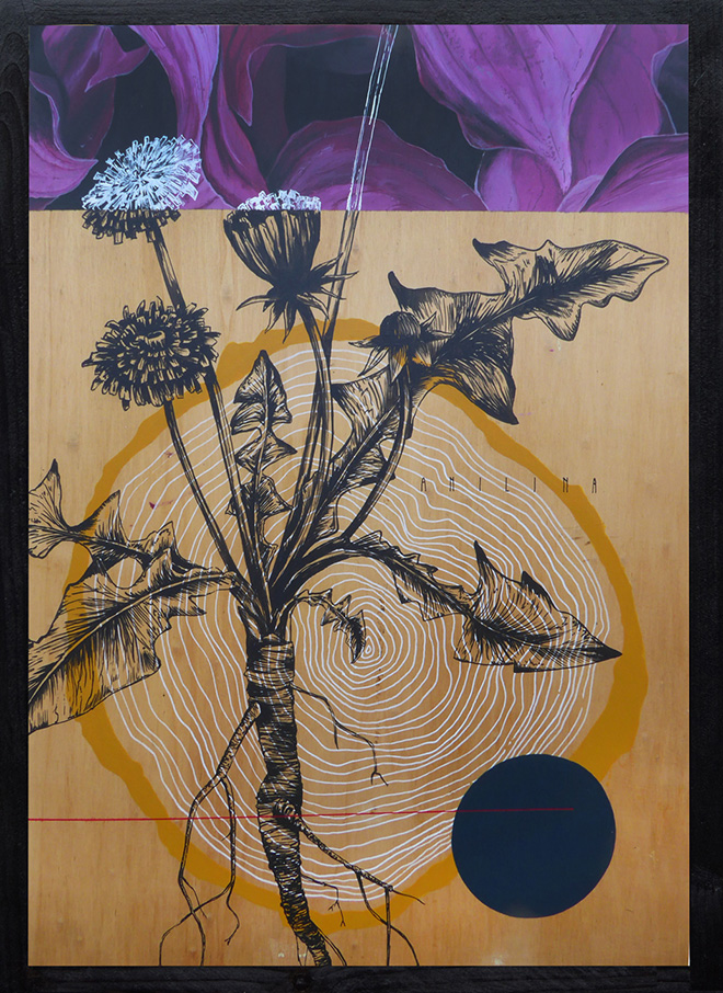 Fabio Petani - Anilina e taraxacum officinalis, 2018, paint on wood, Il Cerchio e le Gocce (Torino) - SetUp Contemporary Art Fair 2019, Bologna.