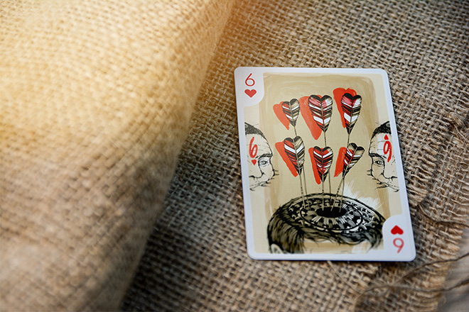 Playing Arts: Edition Zero. 6 of Hearts, illustration by Pat Perry. photo credit: @cardcollections09