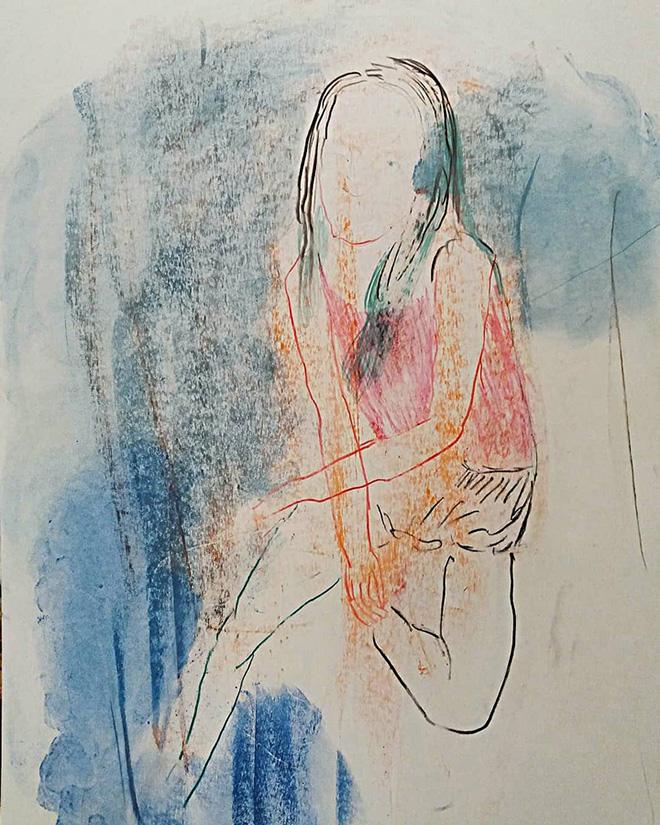 Elisa Filomena - Ragazza su bordo piscina, pastelli su carta, cm. 50x33, 2018