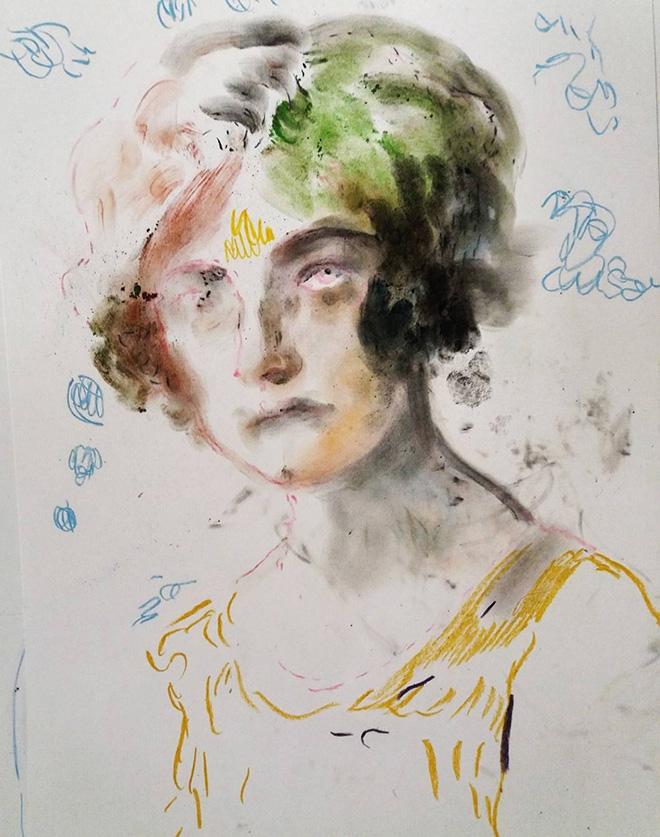 Elisa Filomena - Donna degli anni '50, pastelli su carta, cm. 50x40, 2017.