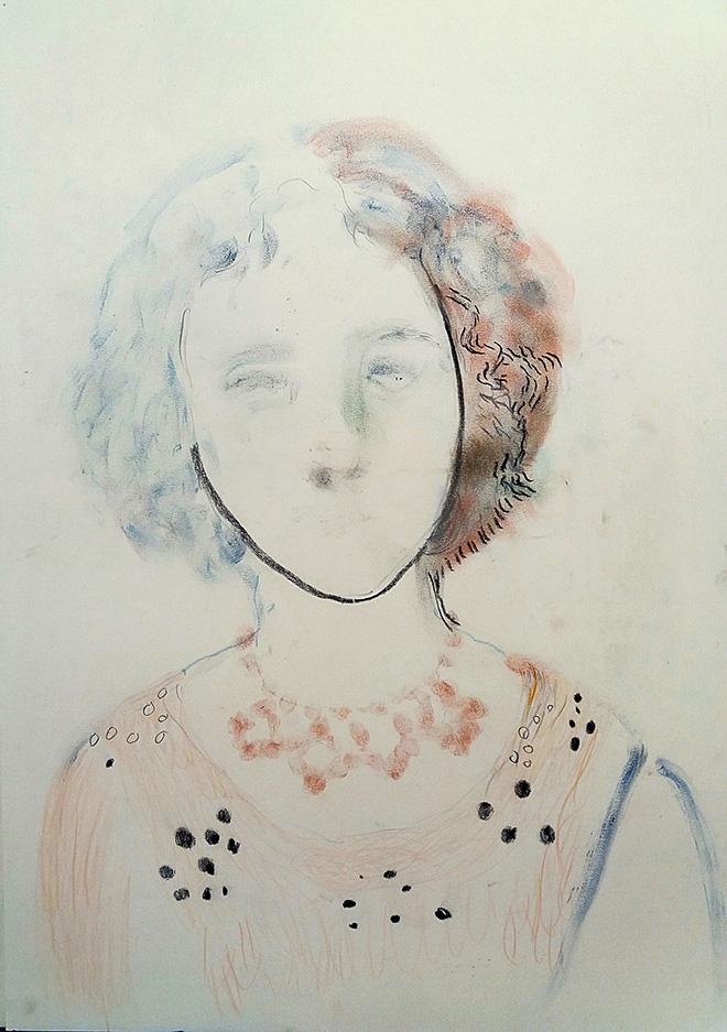 Elisa Filomena - Donna, pastelli su carta, cm. 35x48, 2018