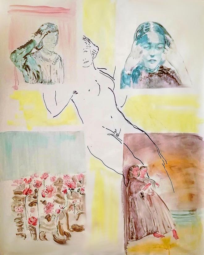 Elisa Filomena - Racconti di una vocazione, acrilico e pennarello su tela, cm. 150x110, 2018