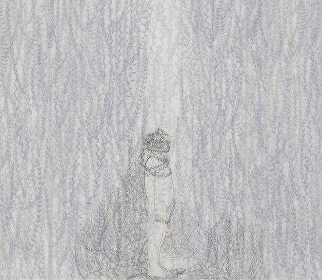 Elisa Bertaglia - Cendriers 2, particolare, 2018, carboncino e grafite su fogli trasparenti di poliestere sovrapposti, 30x23 cm.