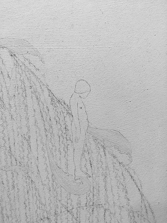 Elisa Bertaglia - Cendriers 1, 2018, carboncino e grafite su fogli trasparenti di poliestere sovrapposti, 30x23 cm.