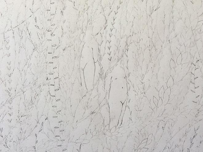 Elisa Bertaglia - Cendriers 7, particolare, 2018, carboncino e grafite su carta, 240x123 cm. circa