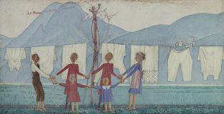 Alberto Magri - Il bucato, 1913, tempera su tavola, cm 46x314, collezione privata.