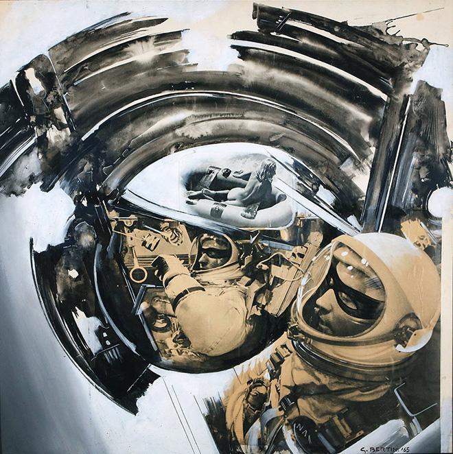Gianni Bertini - Questo nottambulo di Zorro (I due astronauti), 1965, tecnica mista su carta, cm 70x70. photo credit: Pier Enrico Ferri