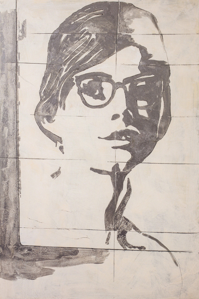 Giosetta Fioroni - Gli occhiali, 1968, tecnica mista su tela, cm 130x85. Courtesy by Robilant+Voena
