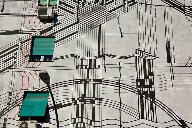 Sten Lex - Paesaggio Industriale, Stencil Poster, Wunderkammern, Roma 2013, Outdoor Festival