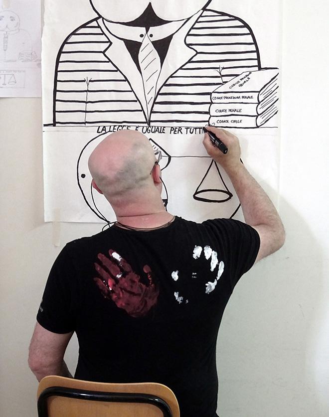Guerrilla Spam - «MANI IN ALTO!», Laboratorio Poster Art, Progetto di arte urbana Casa Circondariale di Larino (CB), 2017